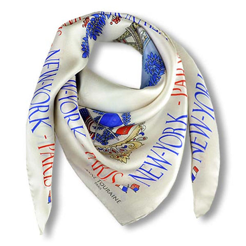 "White silk twill scarf made in France. Size 36x36"". Hand rolled hem. Theme: Paris New York. Scarf by ANNE TOURAINE Paris™ (1)"