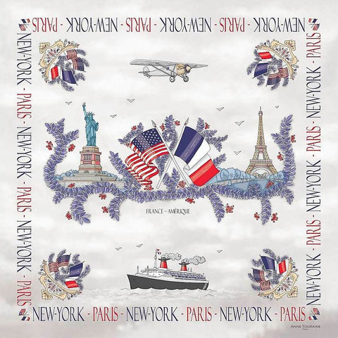 "White silk twill scarf made in France. Size 36x36"". Hand rolled hem. Theme: Paris New York. Scarf by ANNE TOURAINE Paris™ (2)"