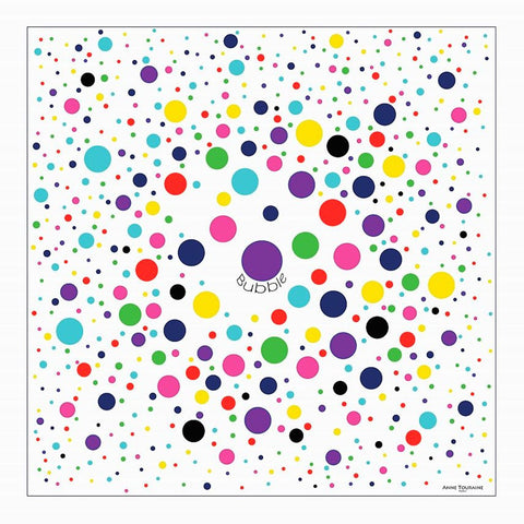 "Multicolor and contemporary polka dot silk twill scarf. Made in France. Size 27x27"". Hand rolled hem. Scarf by ANNE TOURAINE Paris™ (2)"