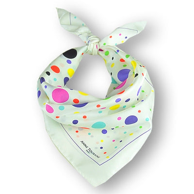"Multicolor and contemporary polka dot silk twill scarf. Made in France. Size 27x27"". Hand rolled hem. Scarf by ANNE TOURAINE Paris™ (1)"