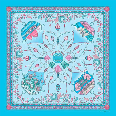 "Neon blue silk twill scarf made in France. Size 27x27"". Hand rolled hem. Chinese theme. Scarf by ANNE TOURAINE Paris™ (2)"