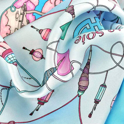 "Neon blue silk twill scarf made in France.Size 27x27"". Hand rolled hem. Chinese theme. Scarf by ANNE TOURAINE Paris™ (6)"