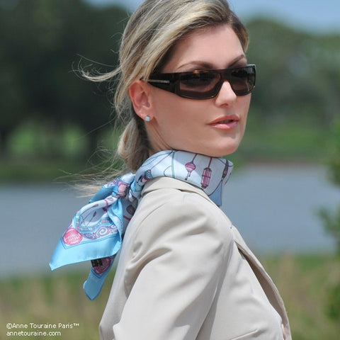 "Neon blue silk twill scarf made in France.Size 27x27"". Hand rolled hem. Chinese theme. Scarf by ANNE TOURAINE Paris™ (3)"