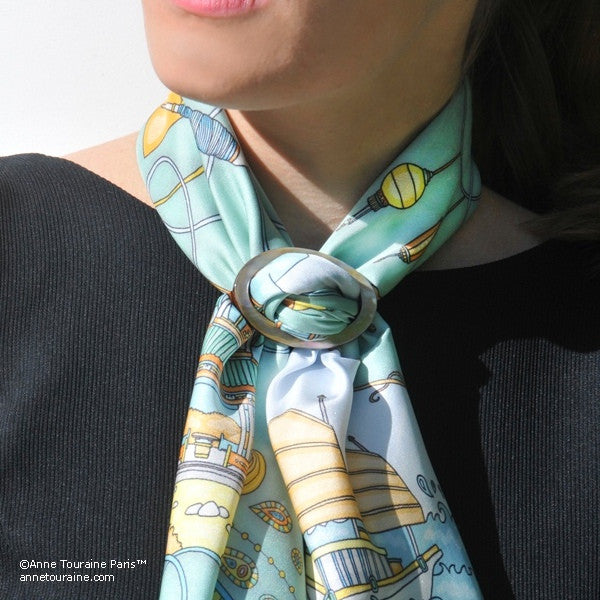 Brown mother of pearl handcrafted scarf ring. Large size. A fun, essential, and versatile complementary to your ANNE TOURAINE Paris™ silk scarves. (1)