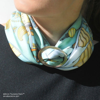 Brown mother of pearl handcrafted scarf ring. Large size. A fun, essential, and versatile complementary to your ANNE TOURAINE Paris™ silk scarves. (3)