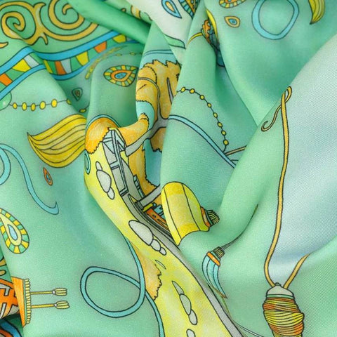 "Neon green silk twill scarf made in France.Size 36x36"". Hand rolled hem. Chinese theme. Scarf by ANNE TOURAINE Paris™ (6)"