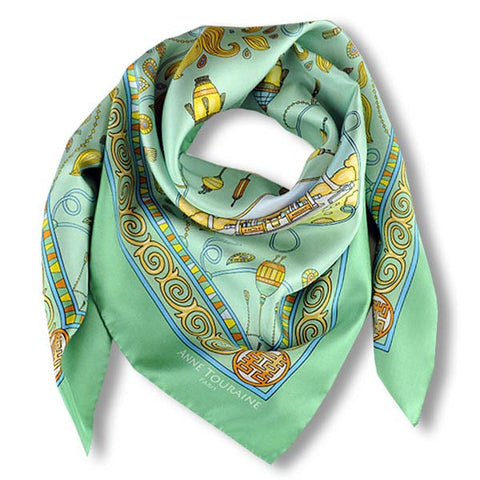 "Neon green silk twill scarf made in France.Size 36x36"". Hand rolled hem. Chinese theme. Scarf by ANNE TOURAINE Paris™ (1)"