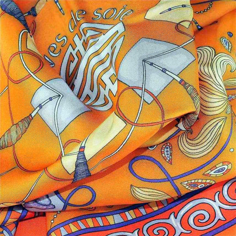 "Neon orange silk twill scarf made in France.Size 27x27"". Hand rolled hem. Chinese theme. Scarf by ANNE TOURAINE Paris™ (6)"
