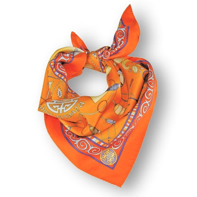 "Neon orange silk twill scarf made in France.Size 27x27"". Hand rolled hem. Chinese theme. Scarf by ANNE TOURAINE Paris™ (1)"