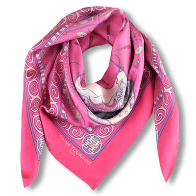 "Neon pink silk twill scarf made in France. Size 36x36"". Hand rolled hem. Chinese theme. Scarf by ANNE TOURAINE Paris™ (1)"