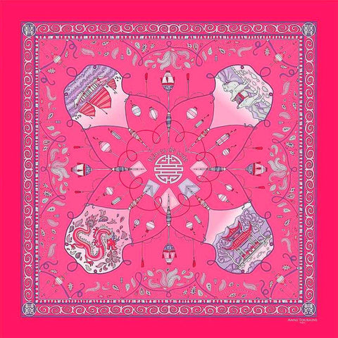 "Neon pink silk twill scarf made in France.Size 36x36"". Hand rolled hem. Chinese theme. Scarf by ANNE TOURAINE Paris™ (2)"
