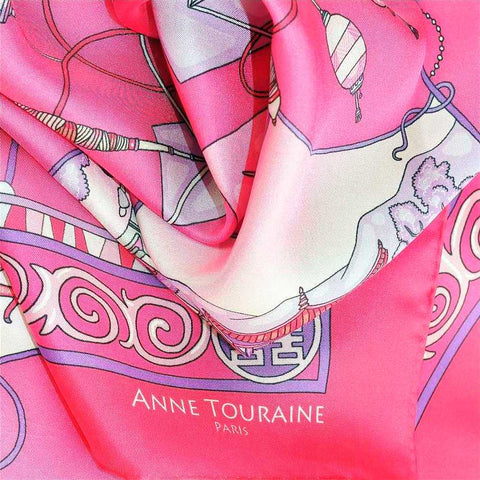 "Neon pink silk twill scarf made in France.Size 36x36"". Hand rolled hem. Chinese theme. Scarf by ANNE TOURAINE Paris™ (6)"