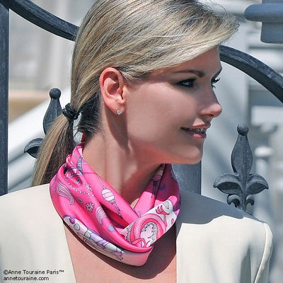 "Neon pink silk twill scarf made in France.Size 36x36"". Hand rolled hem. Chinese theme. Scarf by ANNE TOURAINE Paris™ (4)"