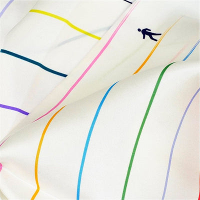 "White silk twill scarf with multicolor stripes. Made in France. Size 27x27"". Hand rolled hem. Scarf by ANNE TOURAINE Paris™ (7)"