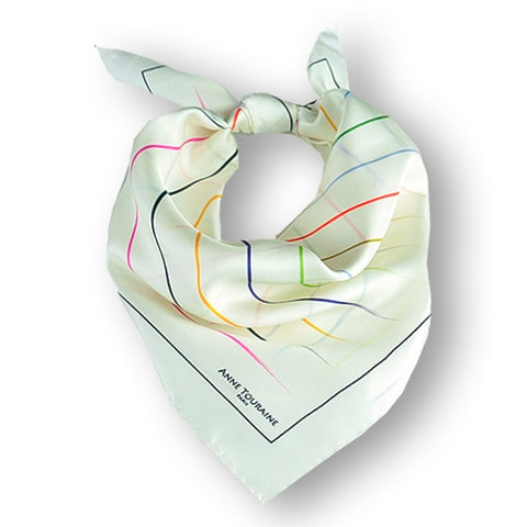 "White silk twill scarf with multicolor stripes. Made in France. Size 27x27"". Hand rolled hem. Scarf by ANNE TOURAINE Paris™ (1)"