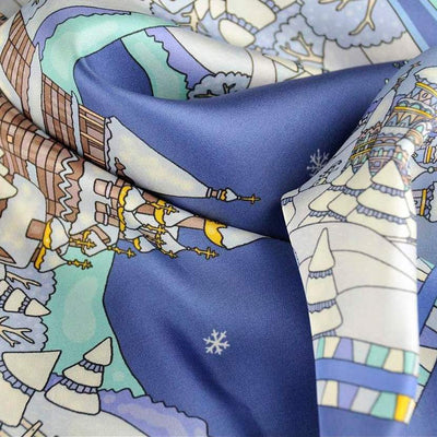 "Blue silk twill scarf made in France. Size 36x36"". Hand rolled hem. Winter theme inspired by Doctor Zhivago. Scarf by ANNE TOURAINE Paris™ (7)"