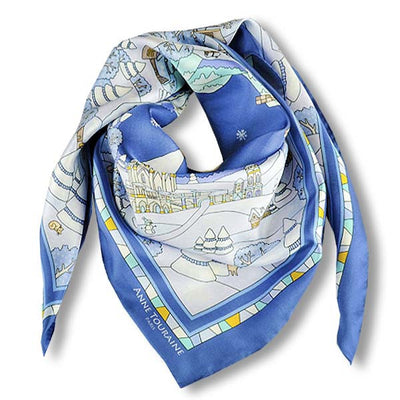 "Blue silk twill scarf made in France. Size 36x36"". Hand rolled hem. Winter theme inspired by Doctor Zhivago. Scarf by ANNE TOURAINE Paris™ (1)"