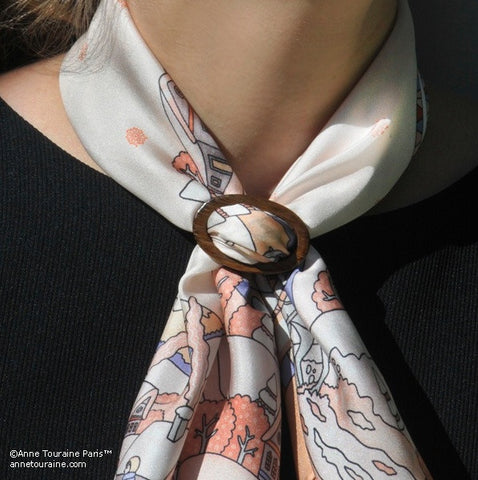 Exotic wood handcrafted scarf ring. Medium size. A fun, essential, and versatile complementary to your ANNE TOURAINE Paris™ silk scarves. (2)