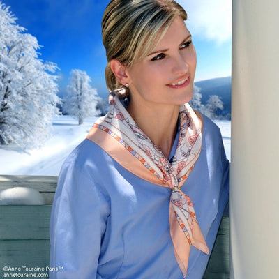 "Peach silk twill scarf made in France. Size 27x27"". Hand rolled hem. Winter theme inspired by Doctor Zhivago. Scarf by ANNE TOURAINE Paris™ (3)"