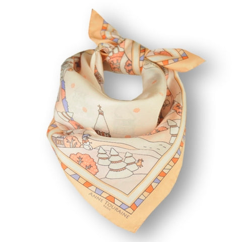 "Peach silk twill scarf made in France. Size 27x27"". Hand rolled hem. Winter theme inspired by Doctor Zhivago. Scarf by ANNE TOURAINE Paris™ (1)"