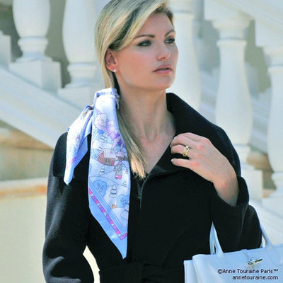 "Light blue silk twill scarf made in France. Size 27x27"". Hand rolled hem. Winter theme inspired by Doctor Zhivago. Scarf by ANNE TOURAINE Paris™ (5)"