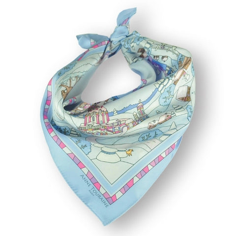 "Light blue silk twill scarf made in France. Size 27x27"". Hand rolled hem. Winter theme inspired by Doctor Zhivago. Scarf by ANNE TOURAINE Paris™ (1)"