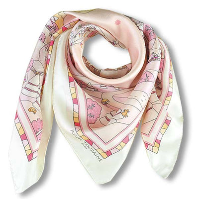 "Pink silk twill scarf made in France. Size 36x36"". Hand rolled hem. Winter theme inspired by Doctor Zhivago. Scarf by ANNE TOURAINE Paris™ (1)"