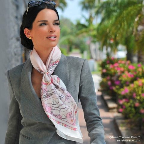 "Pink silk twill scarf made in France. Size 36x36"". Hand rolled hem. Winter theme inspired by Doctor Zhivago. Scarf by ANNE TOURAINE Paris™ (3)"