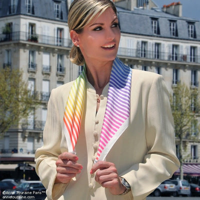 "Multicolor and versatile silk twill scarf with stripes. Made in France. Size 27x27"". Hand rolled hem. Scarf by ANNE TOURAINE Paris™ (4)"