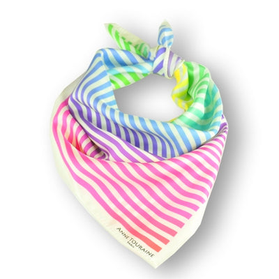 "Multicolor and versatile silk twill scarf with stripes. Made in France. Size 27x27"". Hand rolled hem. Scarf by ANNE TOURAINE Paris™ (1)"