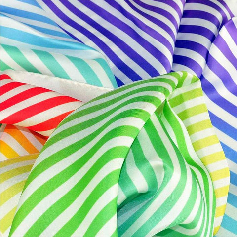 "Multicolor and versatile silk twill scarf with stripes. Made in France. Size 27x27"". Hand rolled hem. Scarf by ANNE TOURAINE Paris™ (6)"