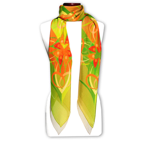 Extra large and lightweight chiffon silk scarf, olive green and brown, by ANNE TOURAINE Paris™
