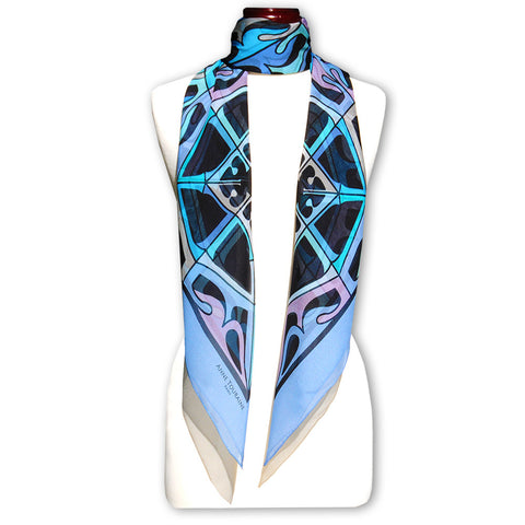 Extra large and lightweight chiffon silk scarf, lavender blue and black, by ANNE TOURAINE Paris™