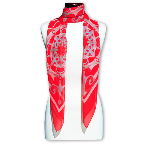 Extra large and lightweight chiffon silk scarf in red color by ANNE TOURAINE Paris™