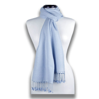 Blue pashmina cashmere silk by ANNE TOURAINE Paris™: soft,warm,and cozy (1)