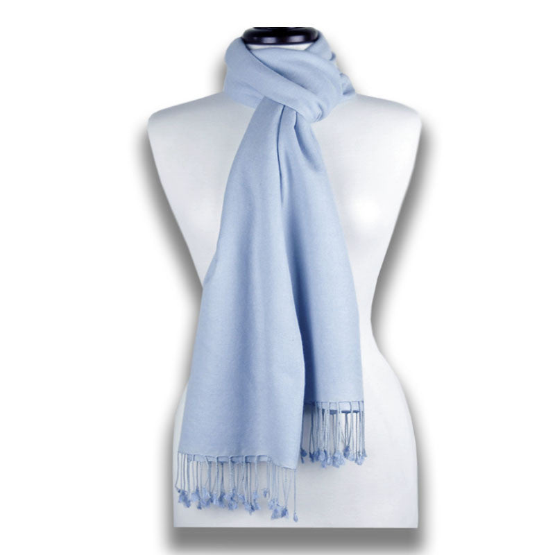 Blue pashmina cashmere silk by ANNE TOURAINE Paris™: soft,warm,and cozy (2)