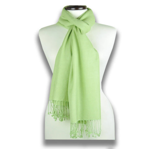 Green pashmina cashmere silk by ANNE TOURAINE Paris™: soft,warm,and cozy (1
