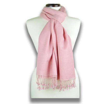 Rose pink pashmina cashmere silk by ANNE TOURAINE Paris™: soft,warm,and cozy (1