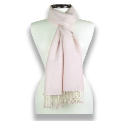 Powder pink pashmina cashmere silk by ANNE TOURAINE Paris™: soft,warm,and cozy (1