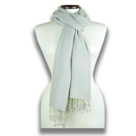 Grey pashmina cashmere silk by ANNE TOURAINE Paris™: soft,warm,and cozy (1