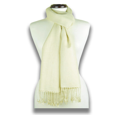 Sand white pashmina cashmere silk by ANNE TOURAINE Paris™: soft,warm,and cozy (1