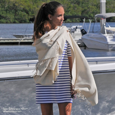 Sand white pashmina cashmere silk by ANNE TOURAINE Paris™: soft,warm,and cozy (2)