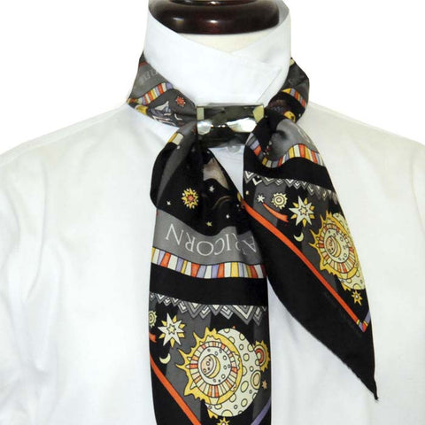 Black mother of pearl scarf pendant, tube shape, with the ASTRO - zodiac inspired - silk scarf, black: two unique creations by ANNE TOURAINE Paris™