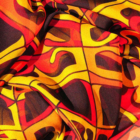 Extra large and lightweight chiffon silk scarf, orange and black, by ANNE TOURAINE Paris™