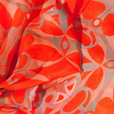 Extra large and lightweight chiffon silk scarf, vivid orange color, by ANNE TOURAINE Paris™