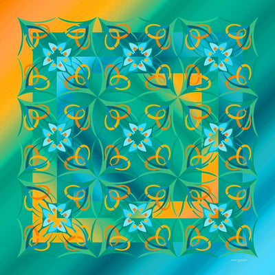 Extra large and lightweight chiffon silk scarf, teal and orange, by ANNE TOURAINE Paris™