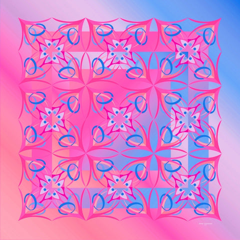 Extra large and lightweight chiffon silk scarf, pink and turquoise, by ANNE TOURAINE Paris™
