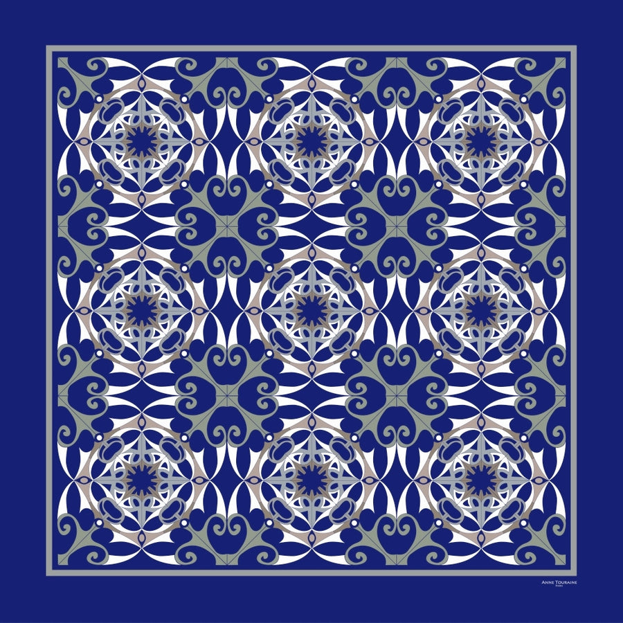 Extra large and lightweight chiffon silk scarf, blue color, by ANNE TOURAINE Paris™
