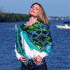 Extra large and lightweight chiffon silk scarf, teal and black, by ANNE TOURAINE Paris™