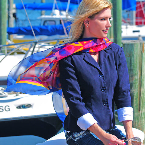 Extra large and lightweight chiffon silk scarf, cobalt blue, raspberry and yellow, by ANNE TOURAINE Paris™